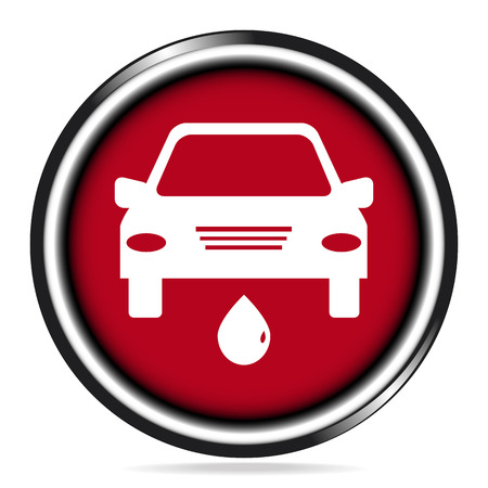 leaking: Car service icon on red button, leaking oil icon concept