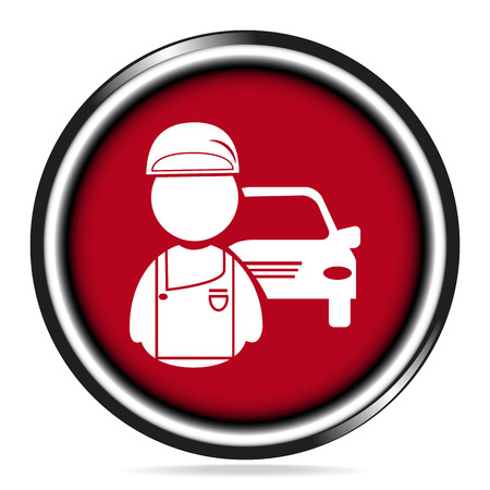 Car service icon, Mechanic man and car button vector illustration Illustration
