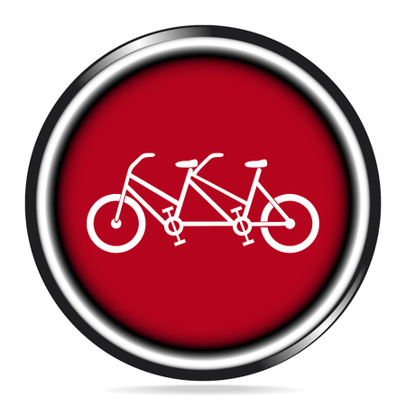 tandem bicycle: Vintage tandem bicycle icon on red button