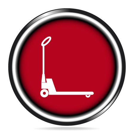 Hand pallet jack lift sign, Hand Pallet Truck icon on red button