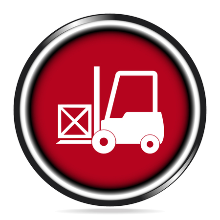 hydraulic platform: Forklift and crate icon on red button illustration Illustration