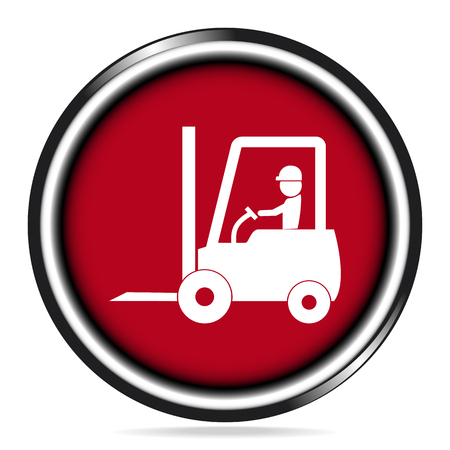 Driver and Forklift  icon on red button illustration
