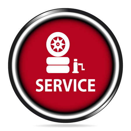 car tire: Car service icon, Tire and service text button Illustration