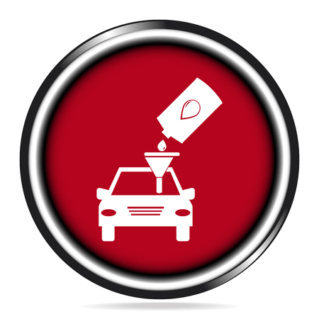 lubricant: Car service symbo iconl,  Lubricant and car on red button