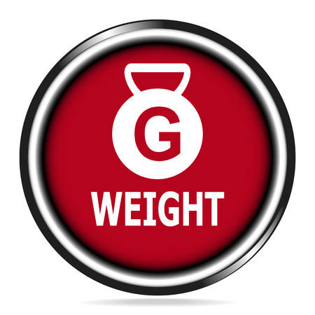 kilograms: Weight icon red button, symbol vector illustration