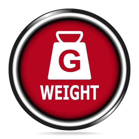 Weight icon red button, symbol vector illustration
