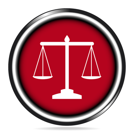 Justice scale icon on red button, symbol vector illustration