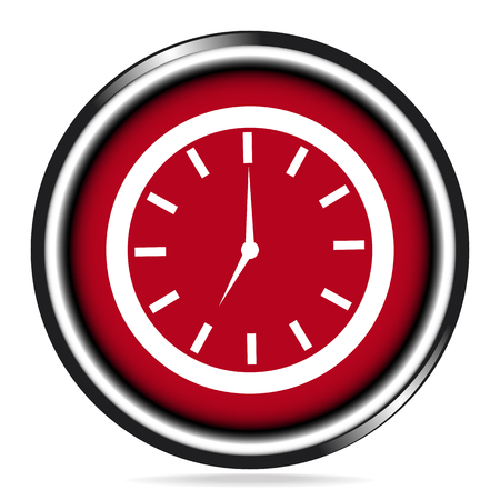 wake up: Clock, wake up sign red button icon