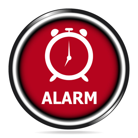 wake up: Alarm clock, wake up sign red button icon Illustration
