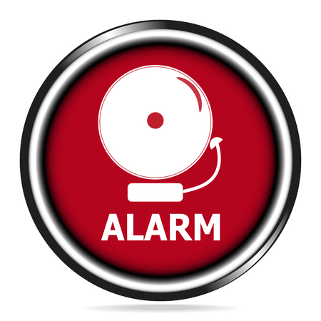 Alarm bell icon on red button, warning sign illustration