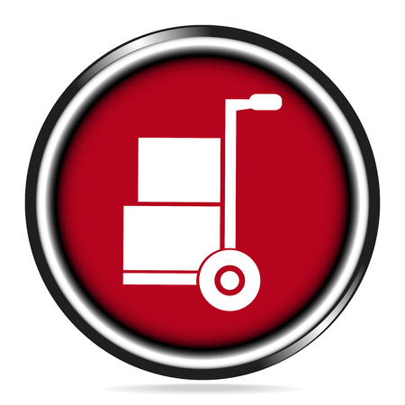 handcart: Handcart and box icon on red button