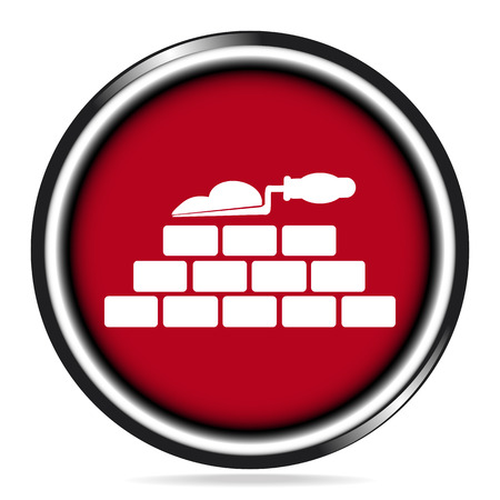 Brickwall and trowel icon on red button, building sign vector illustration Illustration