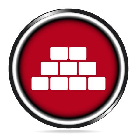brickwall: Brickwall icon on red button, building sign vector illustration Illustration