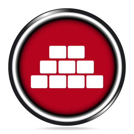 Brickwall icon on red button, building sign vector illustration Illustration