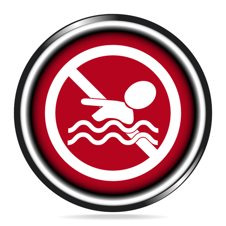 alerting: No swimming warning sign icon on red button illustration