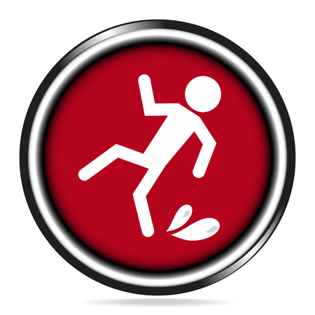 Wet floor warning icon on red button Illustration