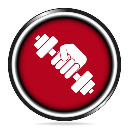 hand with dumbbell: Hand holding with dumbbell icon on red button
