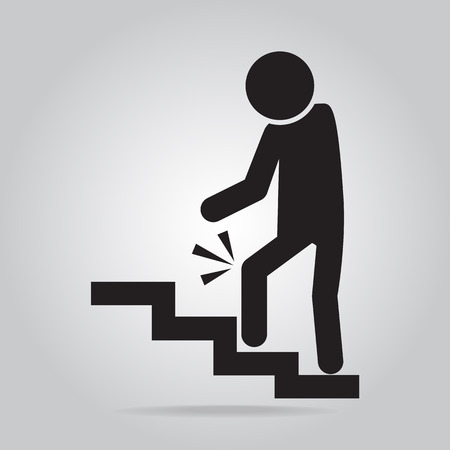 cautious: Man walking on stairs and injury of the knee . person injury symbol Illustration