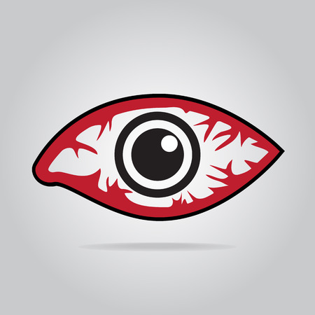 Eye redness icon, Inflammatory disease of eyes.