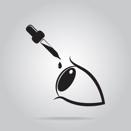 Eye drops icon, medical sign icon