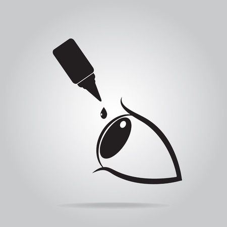 Eye drops icon, medical sign icon