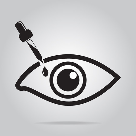 inflammatory: Eye drops icon, medical sign icon