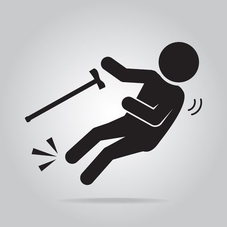 Elderly with stick and slip injury, person injury symbol illustration