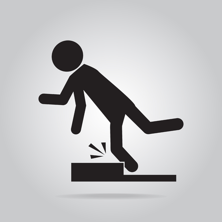 tripping: Man tripping over on floor, person injury symbol illustration