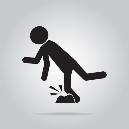 Man tripping over on floor, person injury symbol illustration