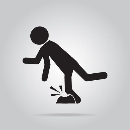 Man trébucher sur le plancher, blessure personne illustration symbole Banque d'images - 63801106