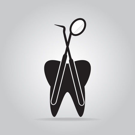 Tooth and Dentist tools icon, dental care icon illustration Illustration