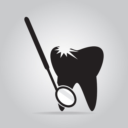 cavities: Tooth cavities and Dentist tools icon, dental care icon illustration