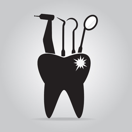 cavities: Dentist tools and tooth cavities icon, dental care icon illustration Illustration