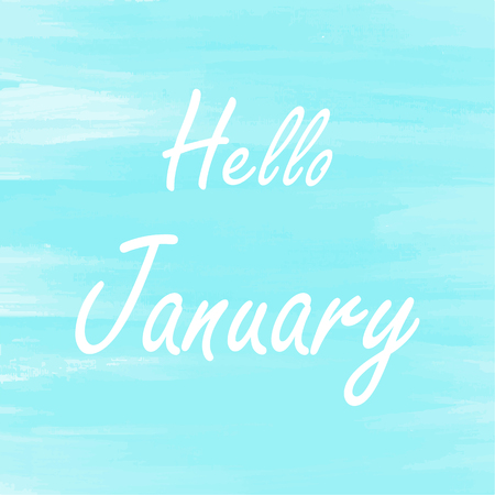 spatters: Hello January blue watercolor background,  Abstract  Greeting card, Theme or Template
