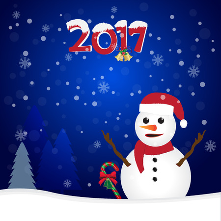 2017 and snowman on blue background, Christmas background Illustration