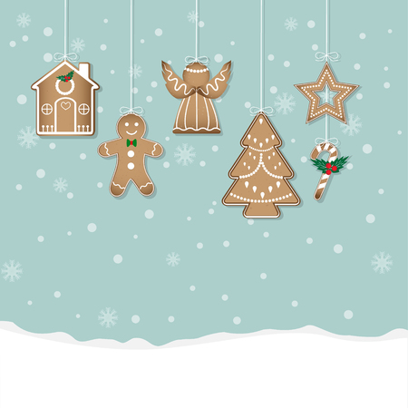 Gingerbread Christmas Cookies on snow background Illustration