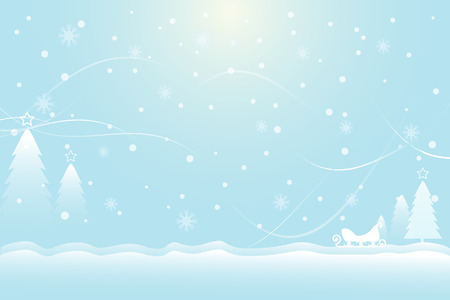 Snow, pine tree and sleigh Christmas soft blue background