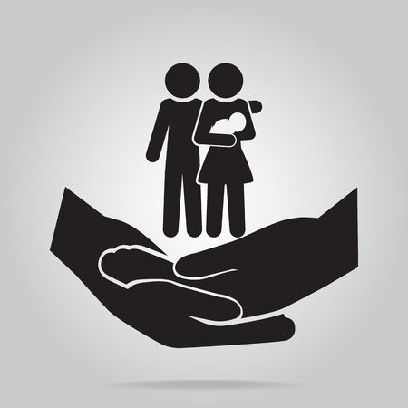 Family on hand clasped icon, care or protection relationship concept