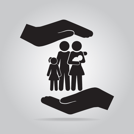 happy couple at home: Family in hand icon, care or protection relationship concept