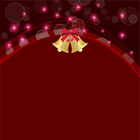 christmas bell and line curve abstract red background