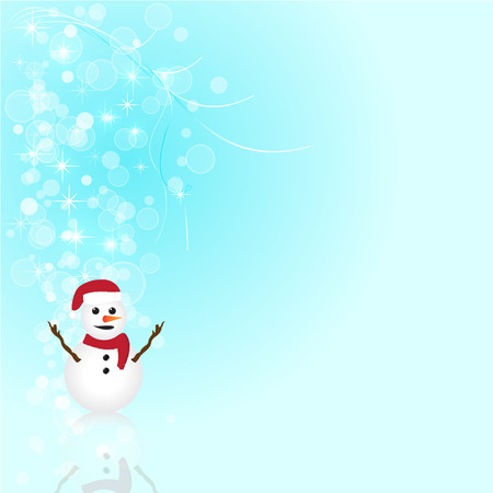 abstract snowman and glow christmas blue  background