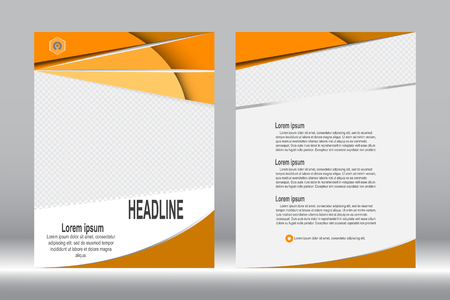 design, Brochure template orange color abstract vector background.