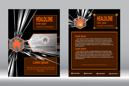 design, Brochure template abstract dark background.