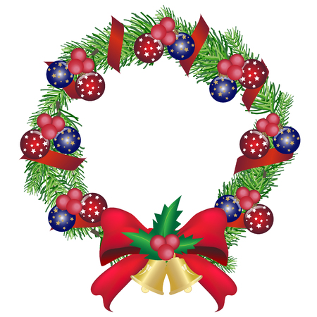 pine wreath: Christmas pine garland with balls and red bow decoration, pine wreath, icon Illustration