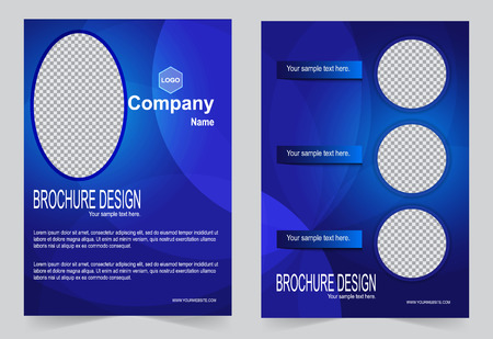 royal blue: Brochure template, design, royal blue color background.