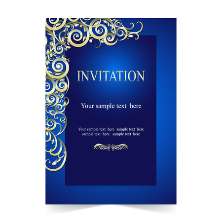 Invitation card, wedding card with ornamental on blue background