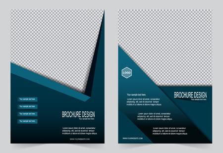 azul marino: Modelo del folleto, plantilla de color azul marino de diseño