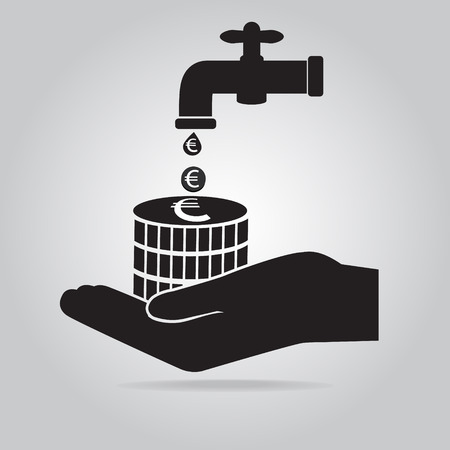 Faucet with money and hand icon, save water concept