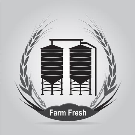 silo: Agricultural Silo and wheat icon