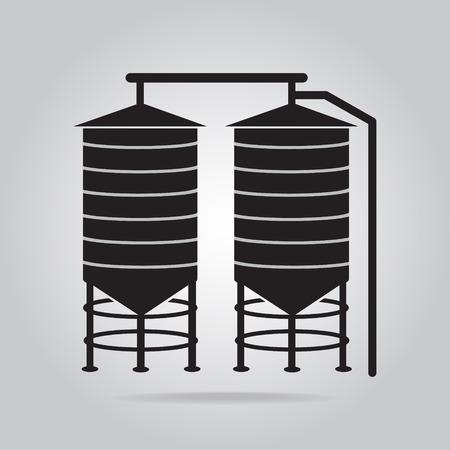 silo: Agricultural silo icon vector illustration